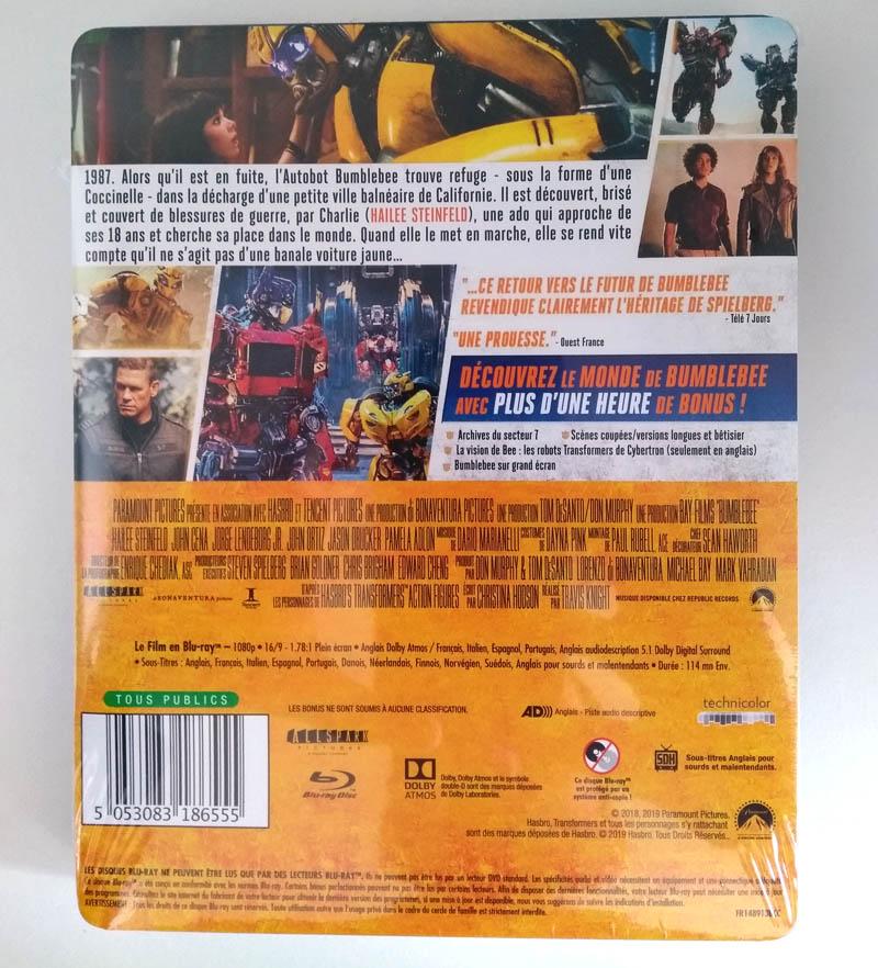 Bumblebee - steelbook Fnac - emballage versos