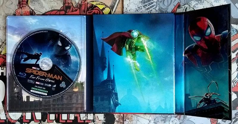 Visuels internes avec disques coté Mysterio - Spider-Man Far From Home - édition limitée spéciale E. Leclerc