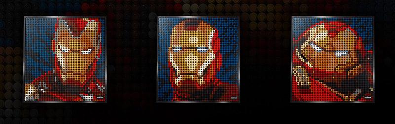 Les 3 modèles possibles pour la boite Lego Art Iron Man de Marvel Studios